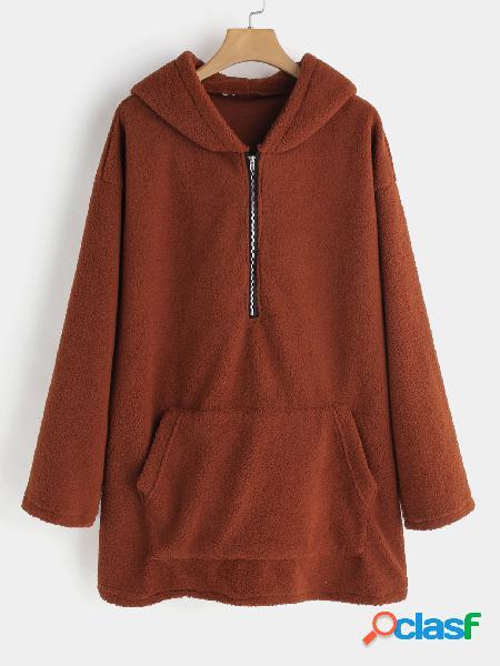 Sudaderas con capucha mangas largas lisas con diseño marrón