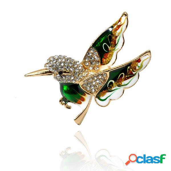 Elegante colorful extendiendo las alas broches de pájaro verde paz pájaro ropa joyas para mujer