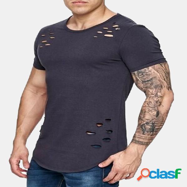Moda para hombre verano modal acogedor transpirable color sólido o-cuello básico camisetas casuales