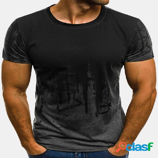 Moda para hombre verano casual impreso o-cuello manga corta regular fit camisetas
