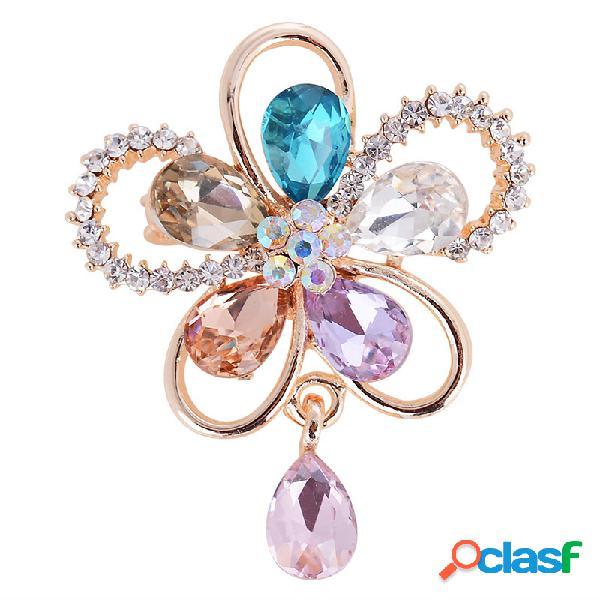Elegantes broches de flores de cristal bufanda colorida joyería accesorios de vestir para ella