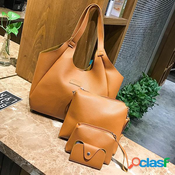 Casual 4pcs faux leather bucket bolsa bolso de hombro bolsa crossbody bolsa portatarjetas de embrague