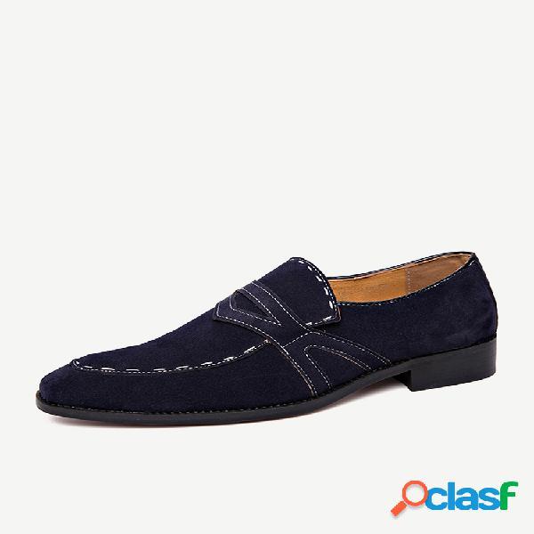 Zapatos formales de gamuza antideslizante de gamuza cosida a mano para hombre