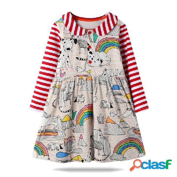 Mangas largas de rayas con estampado de arcoiris de dibujos animados para niñas vestido informal para 1-7y