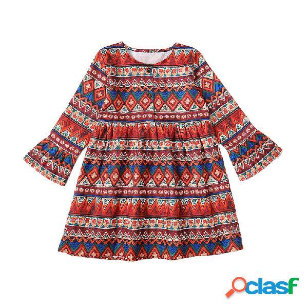 Mangas largas con estampado de rayas étnicas para niñas vendimia vestido para 1-11 años