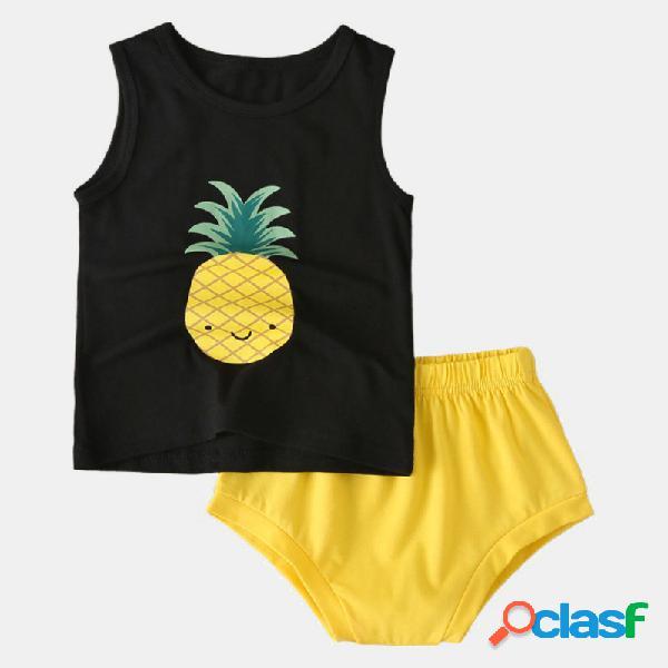 Conjunto de ropa informal sin mangas con estampado de piña linda para niña de 1-7y