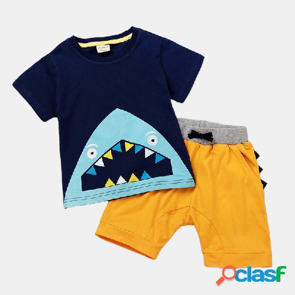 Conjunto de ropa informal de manga corta con estampado de dibujos animados de tiburón para niño de 1-5 años
