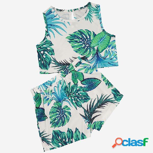 Conjunto de ropa informal sin mangas con estampado verde hoja para niña, para 1-5y