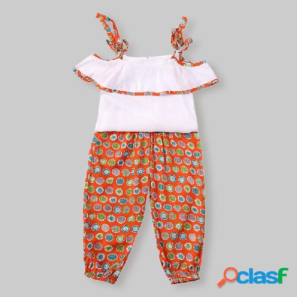 Conjunto de ropa informal con estampado retro para niñas + pantalones conjunto informal para 1-8y