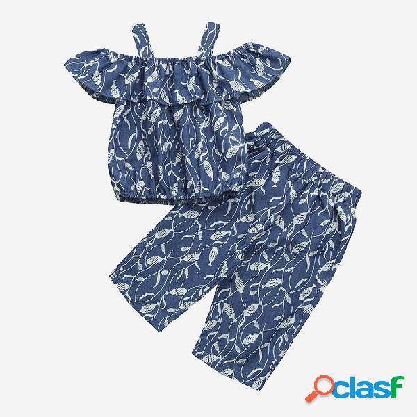 Conjunto de ropa informal con hombros descubiertos y estampado de peces para niña de 1-7 años