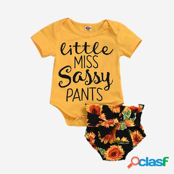 Conjunto de ropa informal de manga corta con estampado de letras de girasol para bebés de 6-24 m