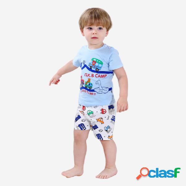 Conjunto de ropa informal de pijama de manga corta con estampado de dibujos animados para niños