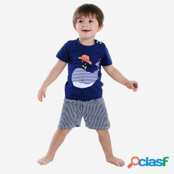 Conjunto de ropa informal de pijama de manga corta con estampado de delfines para niño, para 1-5y