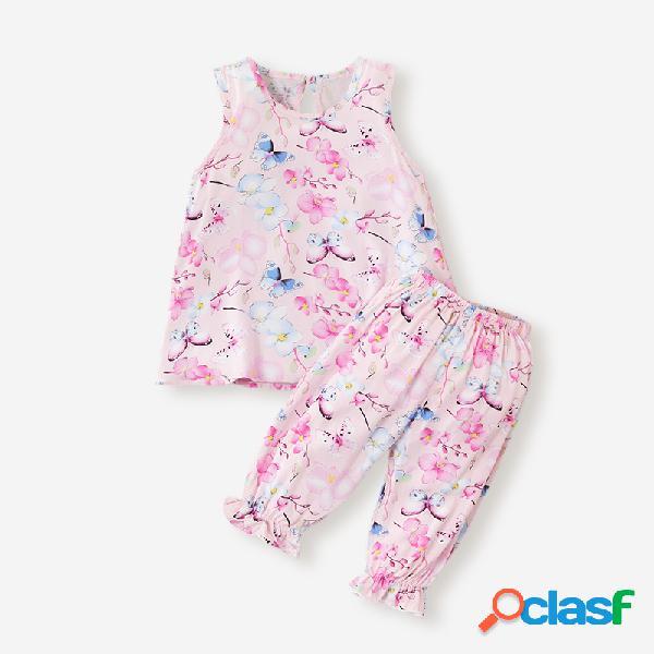 Conjunto de ropa informal sin mangas con estampado floral de mariposa para niña de 3-8y