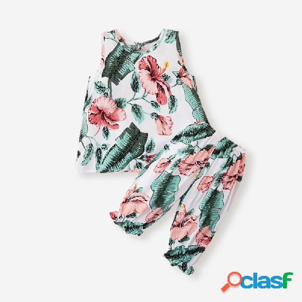 Conjunto de ropa informal sin mangas con estampado floral para niñas de 3-8 años