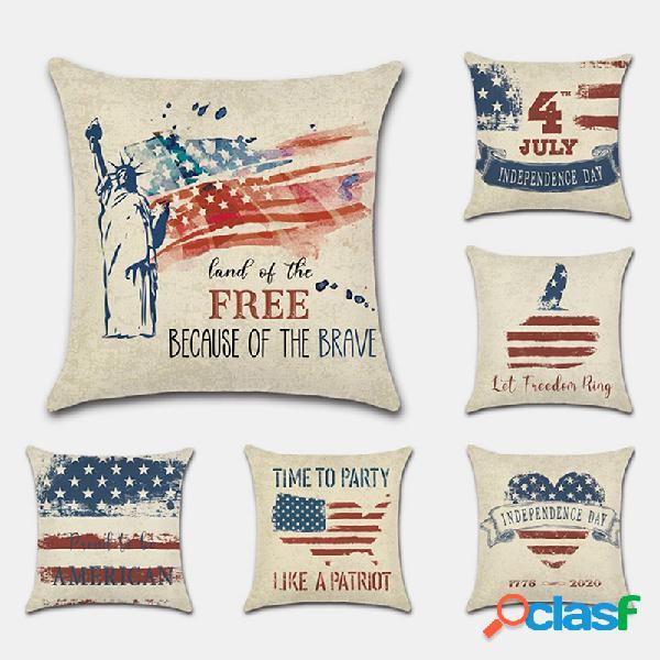 Día de la independencia de estados unidos funda de almohada día nacional retro pintado a mano 4 de julio impresión digital de lino
