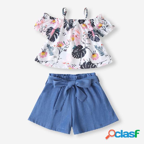 Conjunto de ropa informal con estampado floral de dibujos animados para niña + pantalones cortos para 2-8 años
