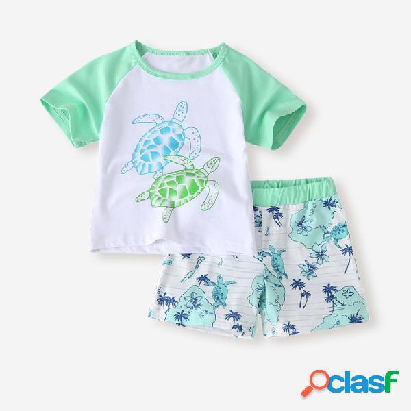 Conjunto de ropa informal de manga corta con estampado de tortuga para niños de 2-8 años