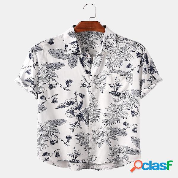 Planta y hoja, camisas de manga corta con estampado ligero para hombre