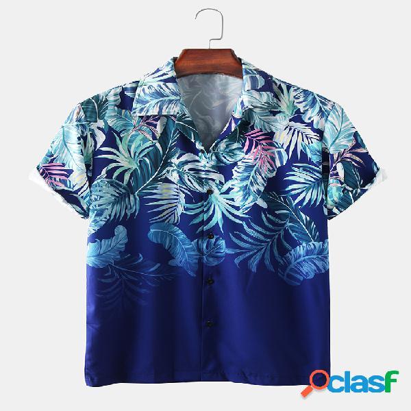 Planta para hombre hoja camisas de manga corta con cuello redondo y estampadas ligeras impresas