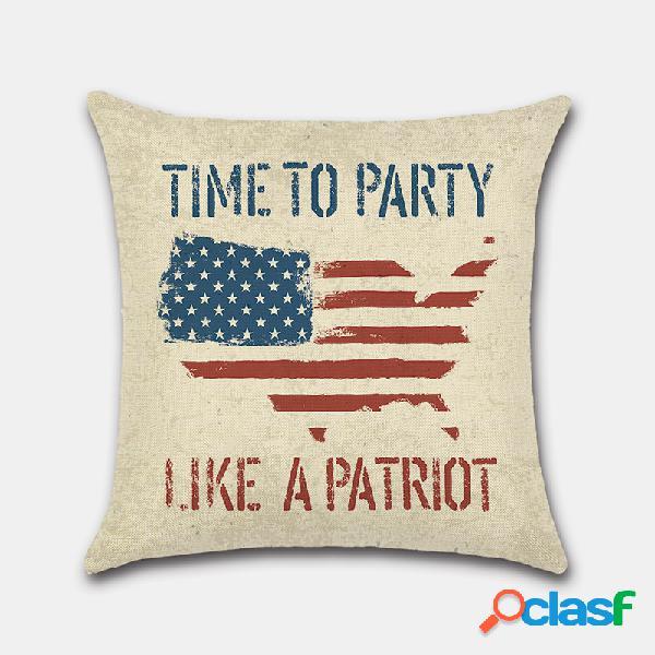 Día de la independencia de los estados unidos funda de almohada día nacional retro pintado a mano 4 de julio impresión digital de lino