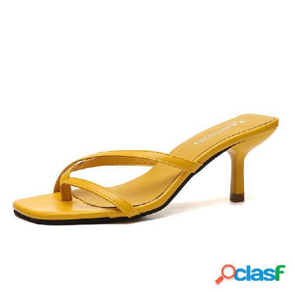 Mujer punta cuadrada con clip, tacón bajo zapatillas