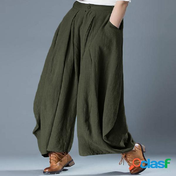 Algodón de cintura elástica suelta informal de color sólido Pantalones
