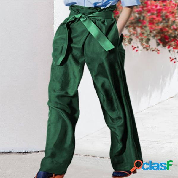 Bowknot de color sólido Cinturón Bolsillos con cremallera Casual Pantalones