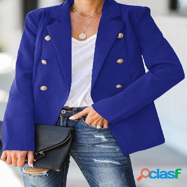 Chaqueta de traje de color sólido con botones delanteros para Mujer