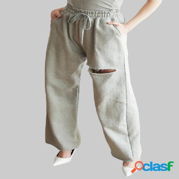 Color sólido Bolsillos rasgados Cintura elástica Causal Pantalones