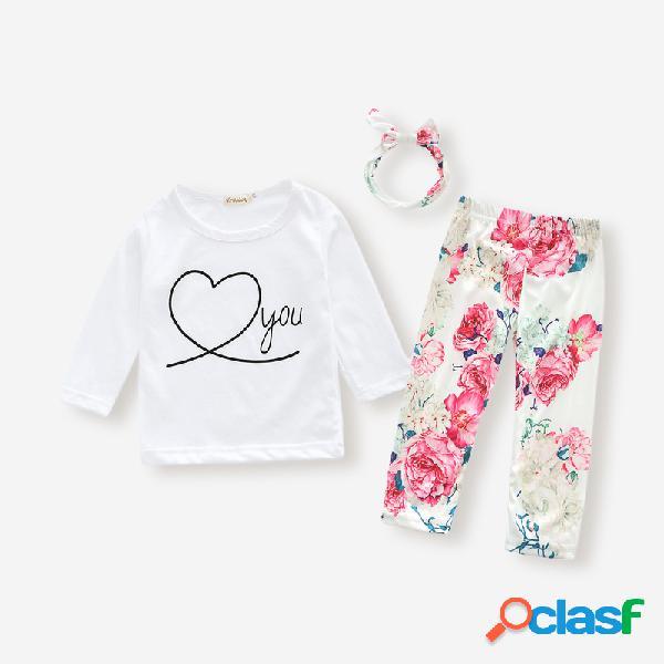 Conjunto de algodón con cuello redondo y mangas largas con estampado floral para bebés para 6-24M