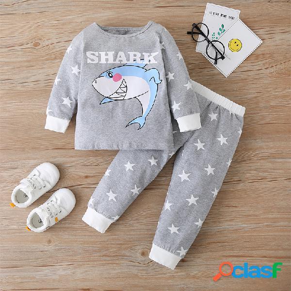 Conjunto de pijama casual de manga larga con estampado de dibujos animados para niño 1-7Y