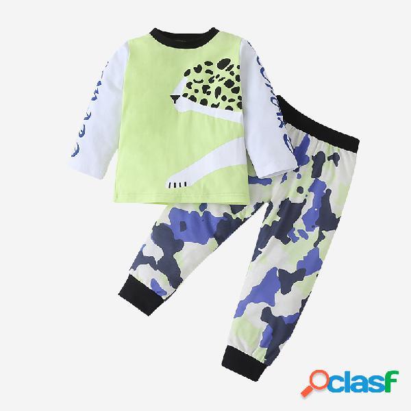 Conjunto informal de manga larga con estampado de camuflaje de leopardo para niños de 1 a 7 años