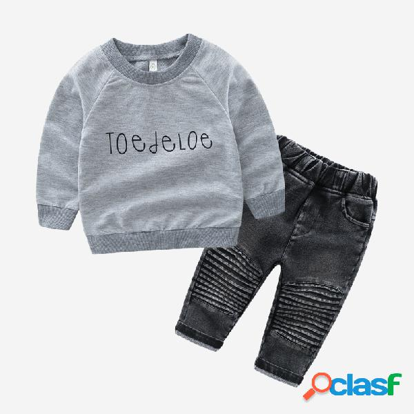 Sudadera de manga larga con estampado de letras para niño + mezclilla Pantalones para 1-7 años