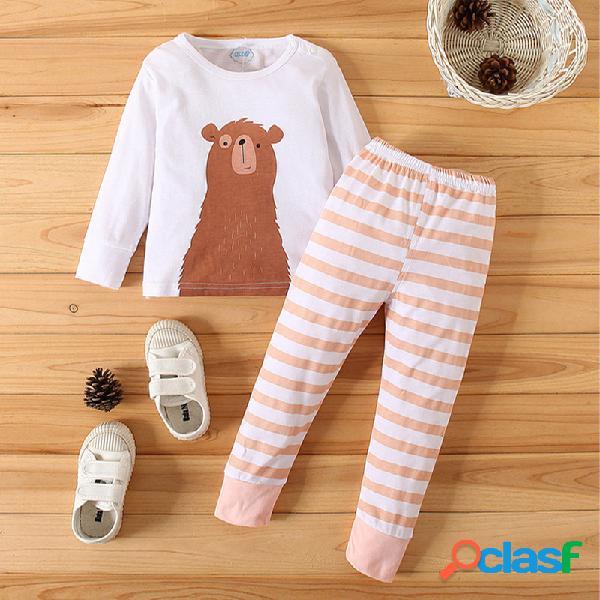 Conjunto de ropa informal de manga larga con estampado de rayas de dibujos animados de oso bebé para 6-24m