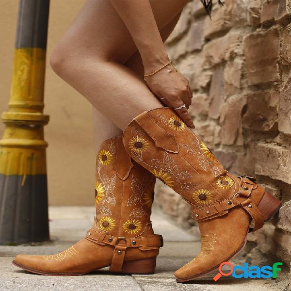 Mujer girasoles retro bordado puntiagudo arnés de tacón grueso vaquero botas