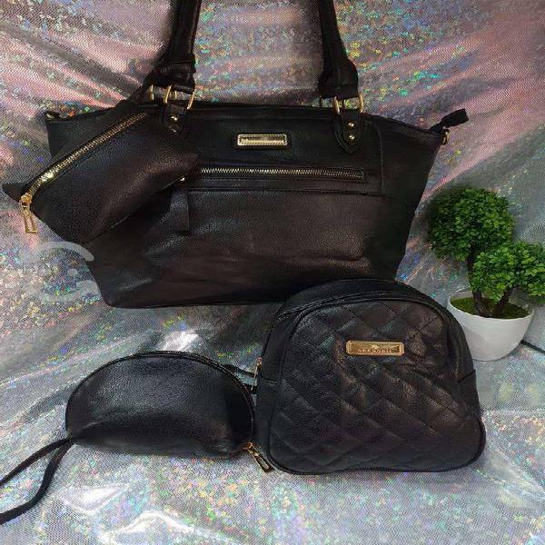 Bolsa, mochila, cosmetiquera y monedero, 6 colores