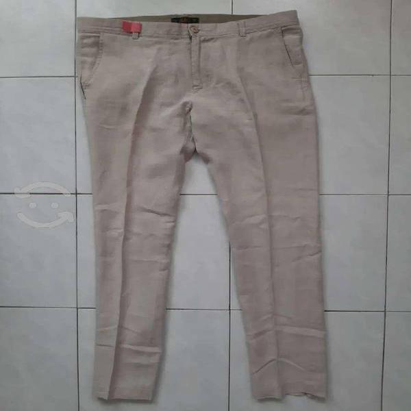 Pantalón de lino para hombre abito talla 32 beige