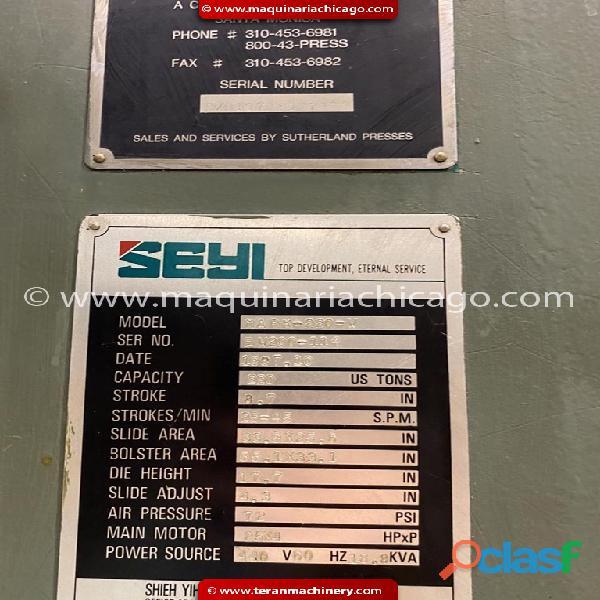 Troqueladora seyi / sutherland 220 ton en venta