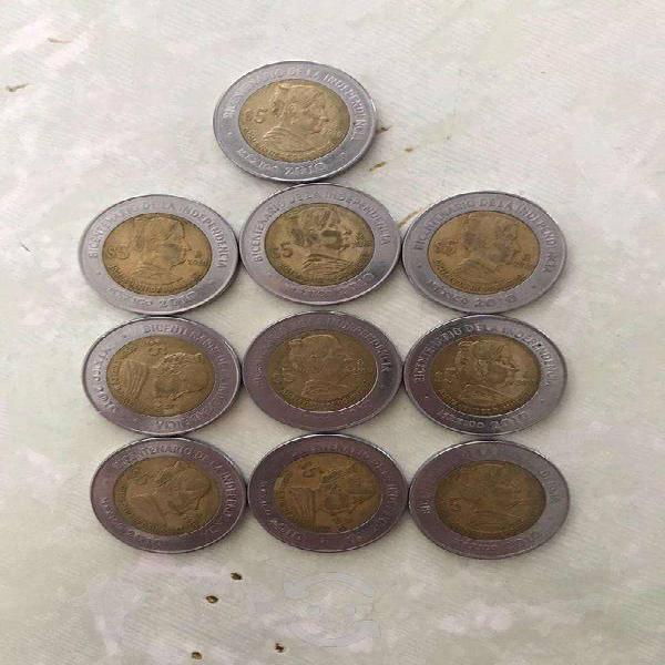 Lote de 10 monedas conmemorativas del bicentenario