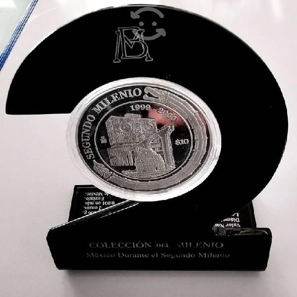 Moneda 2 onzas plata pura 1999 - 2000 proof estuch