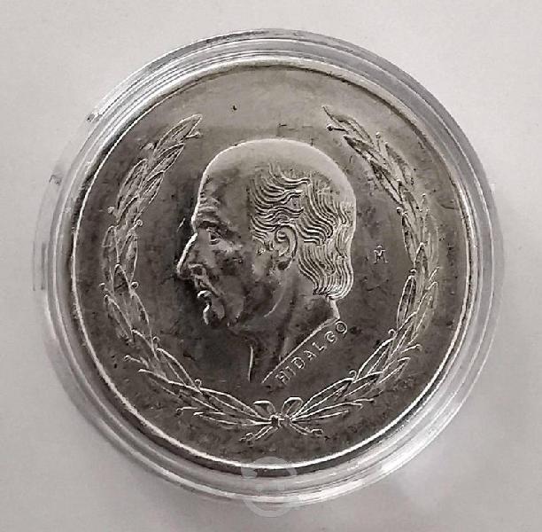 Moneda plata 5 pesos 1954 año de hidalgo