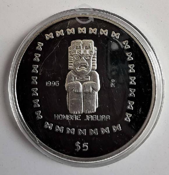 Moneda plata 5 pesos precolombina 1996 homre jagua