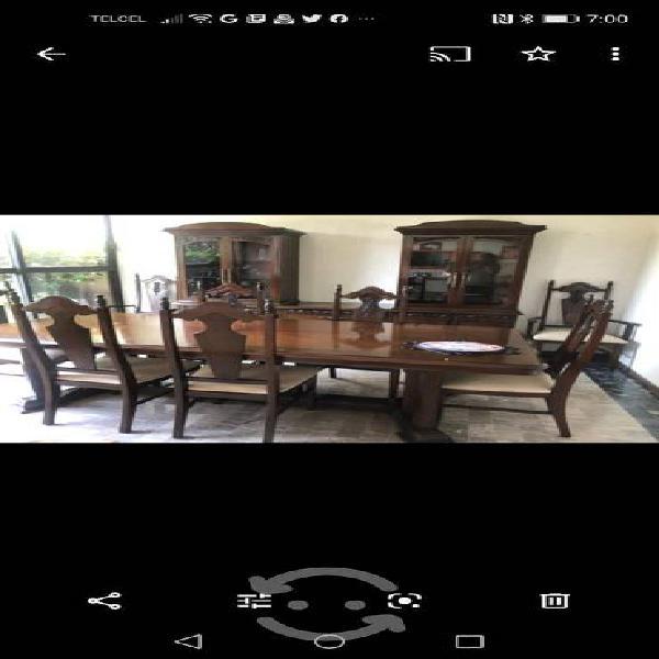Remato comedor antiguo 8 sillas + vitrina