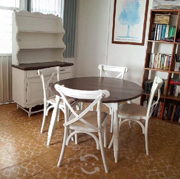 Mesa y 4 sillas estilo vintage shabby chic