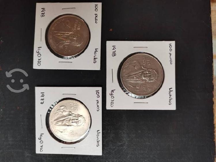 Monedas 100 pesos morelos
