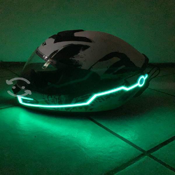 "Casco ls2 + luz led ""tron"" - tamaño: mediano"