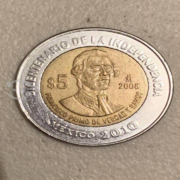 Moneda 5 pesos francisco primo sin puntos
