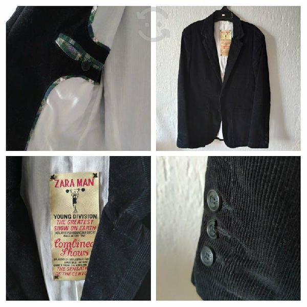 Saco zara negro talla l 40 pana vintage