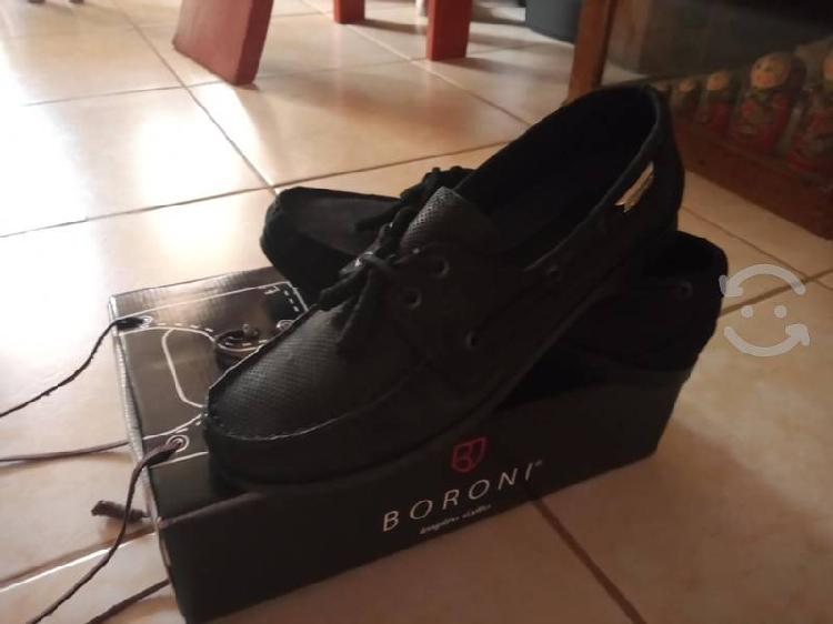 Zapatos boroni para caballero de gamusa negro